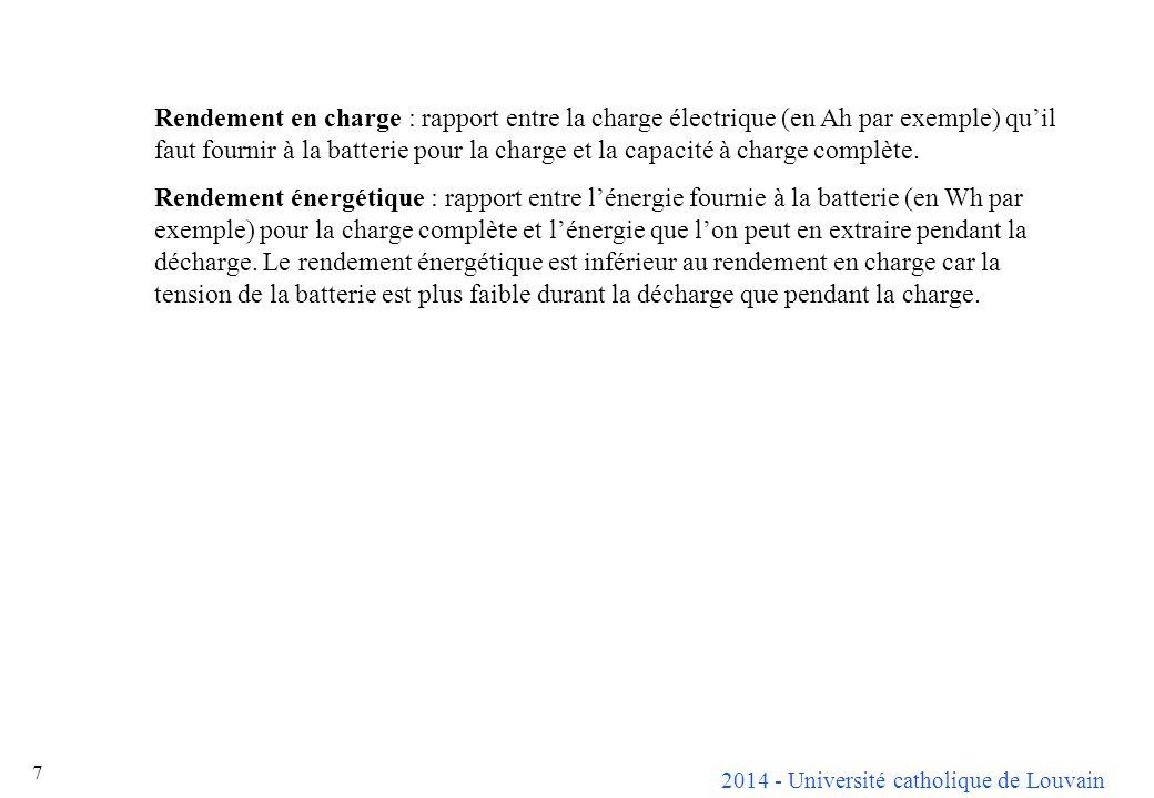 2014 - Université catholique de Louvain 8 Grandeur caractéristique UnitéPlombNiCdNiMh Piles au lithium Pile primaire Réservoir de carburant Densité d énergie Wh/kg35395783 à 150952000 Wh/litre100 90 à 140 1802002102400 Densité de puissance W/kg100700-7050 120000 (au remplissage) W/litre2001500-90 144000 (au remplissage) Rendement énergétique%70-8060-70---20 Décharge spontanée%/mois5-3010-20-101 0 Durée de charge minimale h31-3- 0.0167 (1 minute) Plage de température°C-20/+60-40/+50?/+50?/+40-20/+50-40/+50 Durée de vie # de cycle 1000 800 à 1000 500 à 800 200 à 120011000 Coût spécifique / kWh15150<150350 0.3 Comparaison entre différents types de batterie