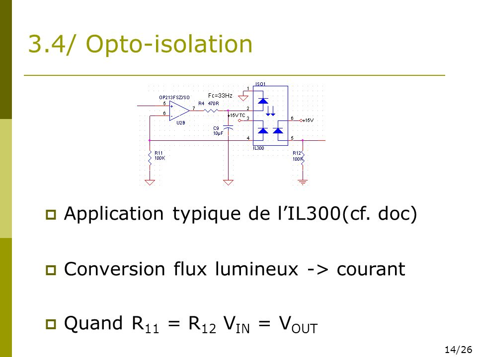 3.4/ Opto-isolation Application typique de lIL300(cf. doc) Conversion flux lumineux -> courant Quand R 11 = R 12 V IN = V OUT 14/26