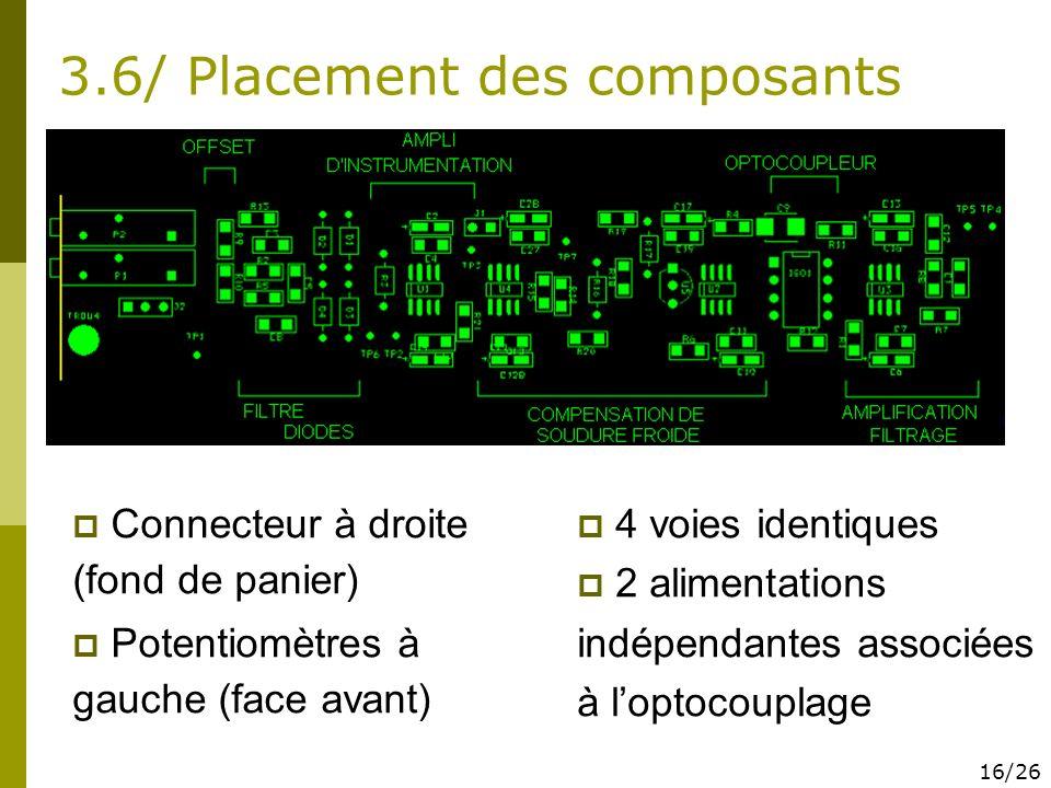3.6/ Placement des composants Connecteur à droite (fond de panier) Potentiomètres à gauche (face avant) 4 voies identiques 2 alimentations indépendant