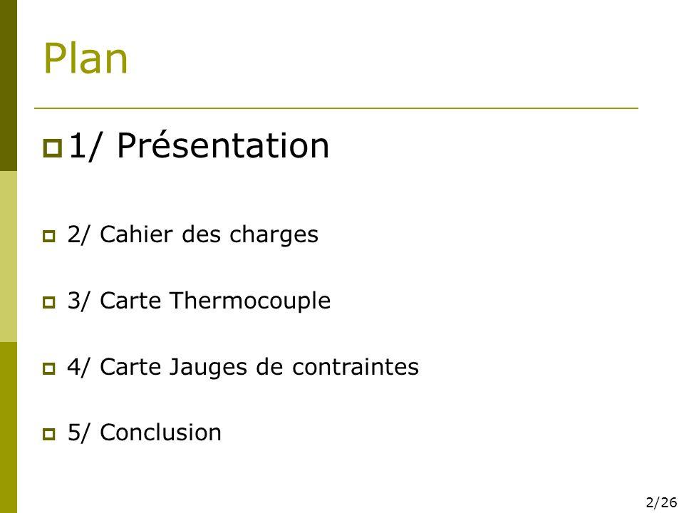 Plan 1/ Présentation 2/ Cahier des charges 3/ Carte Thermocouple 4/ Carte Jauges de contraintes 5/ Conclusion 2/26