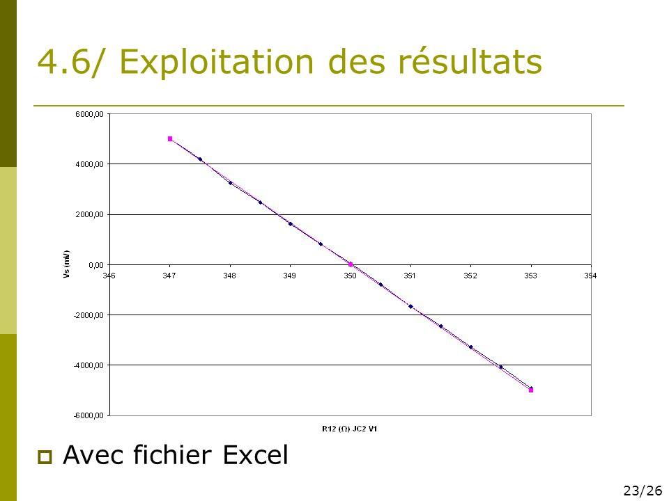 4.6/ Exploitation des résultats Avec fichier Excel 23/26