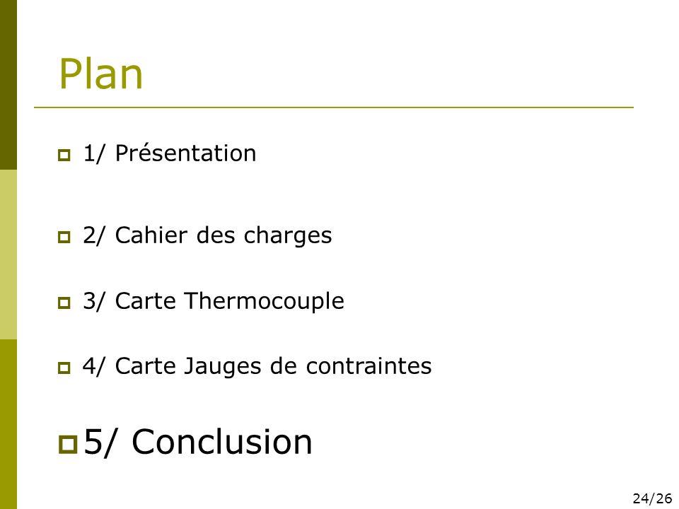 Plan 1/ Présentation 2/ Cahier des charges 3/ Carte Thermocouple 4/ Carte Jauges de contraintes 5/ Conclusion 24/26