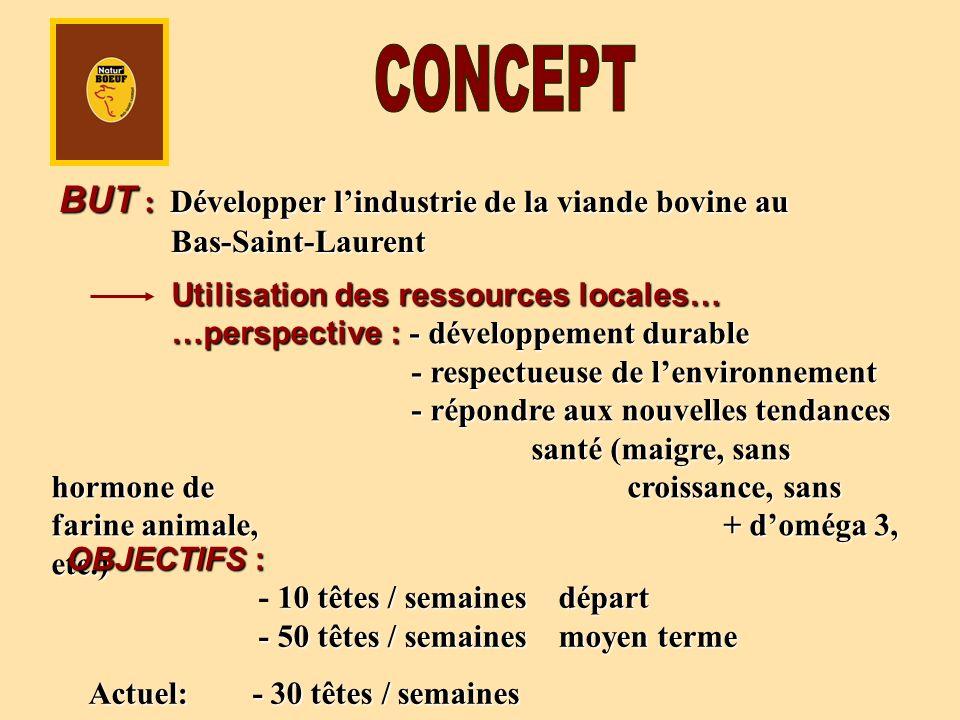 BUT : Développer lindustrie de la viande bovine au Bas-Saint-Laurent Utilisation des ressources locales… …perspective : - développement durable - respectueuse de lenvironnement - répondre aux nouvelles tendances santé (maigre, sans hormone de croissance, sans farine animale, + doméga 3, etc.) OBJECTIFS : 10 têtes / semaines départ - 50 têtes / semaines moyen terme OBJECTIFS : - 10 têtes / semaines départ - 50 têtes / semaines moyen terme Actuel: - 30 têtes / semaines Actuel: - 30 têtes / semaines