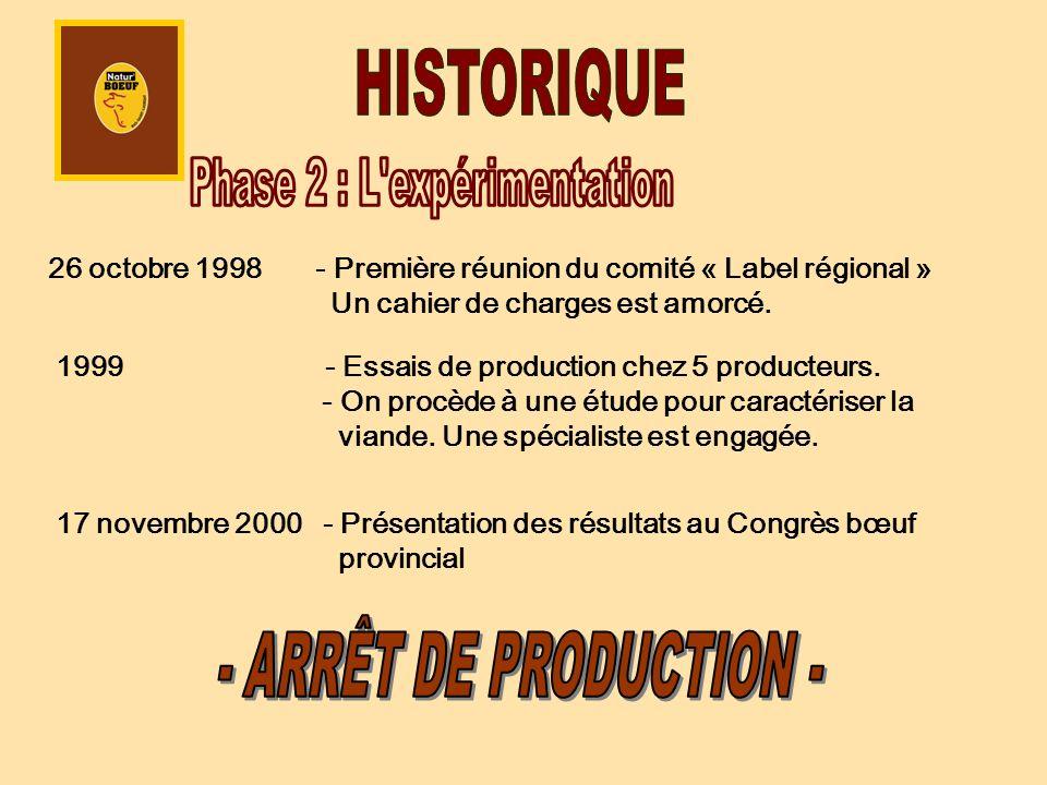 26 octobre 1998 - Première réunion du comité « Label régional » Un cahier de charges est amorcé. 1999 - Essais de production chez 5 producteurs. - On