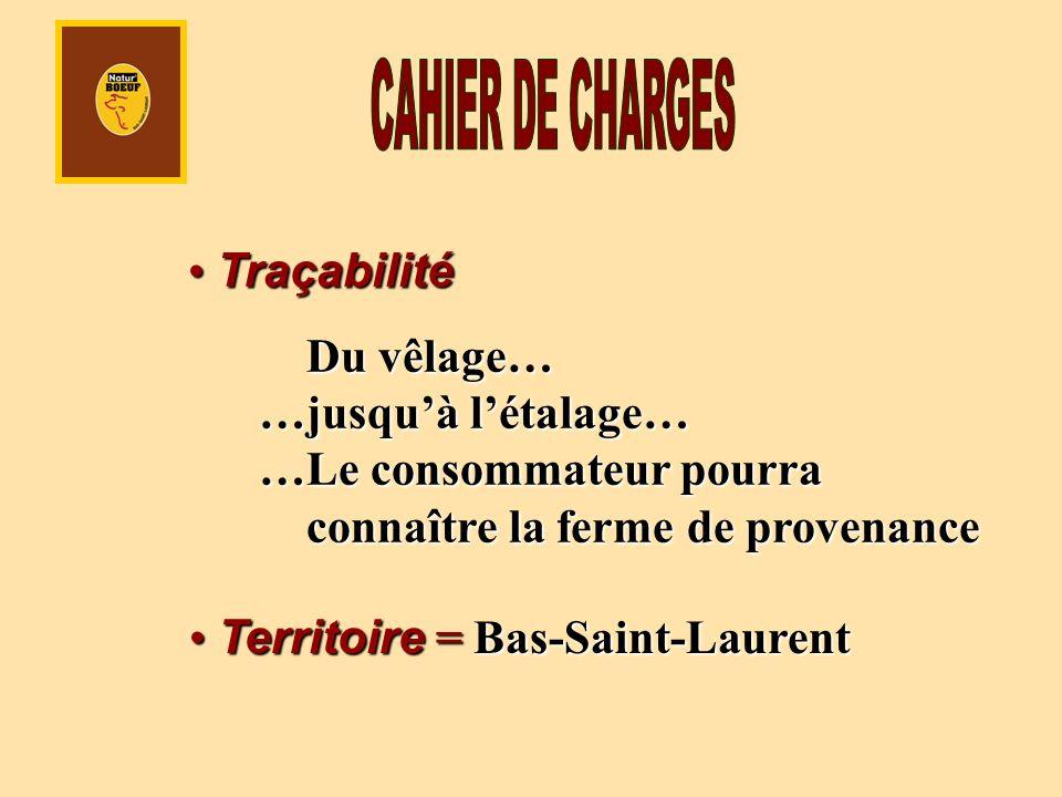Traçabilité Traçabilité Du vêlage… …jusquà létalage… …Le consommateur pourra connaître la ferme de provenance Territoire = Bas-Saint-Laurent Territoir
