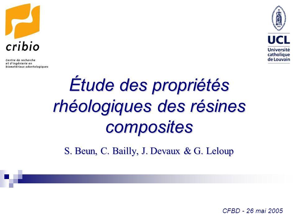 CFBD - 26 mai 2005 Étude des propriétés rhéologiques des résines composites S. Beun, C. Bailly, J. Devaux & G. Leloup