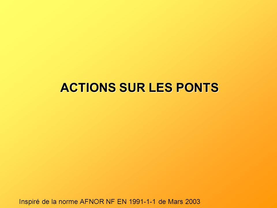 ACTIONS SUR LES PONTS Inspiré de la norme AFNOR NF EN 1991-1-1 de Mars 2003