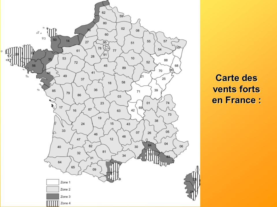 Carte des vents forts en France :