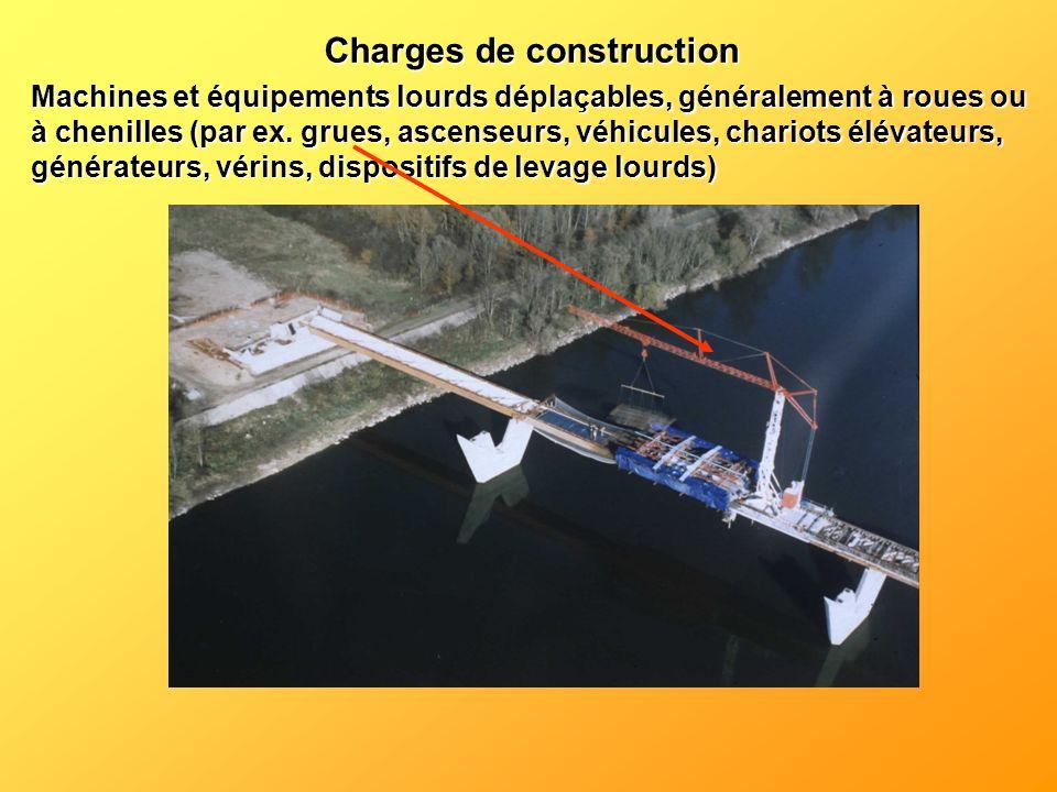 Charges de construction Machines et équipements lourds déplaçables, généralement à roues ou à chenilles (par ex. grues, ascenseurs, véhicules, chariot