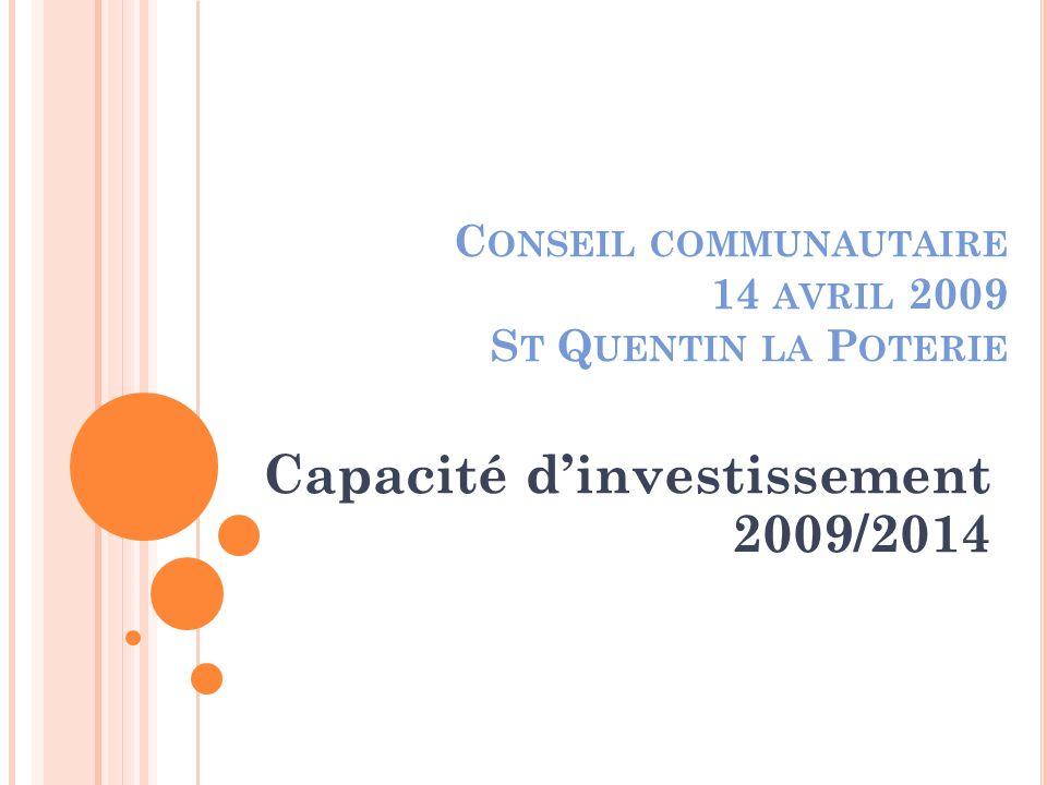 C ONSEIL COMMUNAUTAIRE 14 AVRIL 2009 S T Q UENTIN LA P OTERIE Capacité dinvestissement 2009/2014
