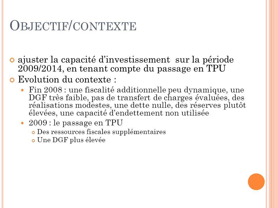 O BJECTIF / CONTEXTE ajuster la capacité dinvestissement sur la période 2009/2014, en tenant compte du passage en TPU Evolution du contexte : Fin 2008