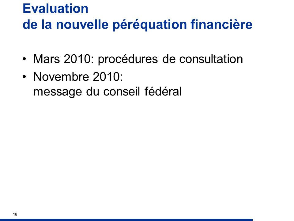 Evaluation de la nouvelle péréquation financière Mars 2010: procédures de consultation Novembre 2010: message du conseil fédéral 18