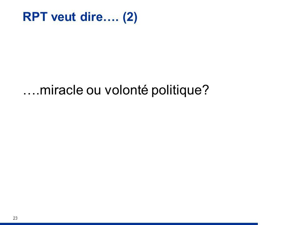 RPT veut dire…. (2) ….miracle ou volonté politique 23