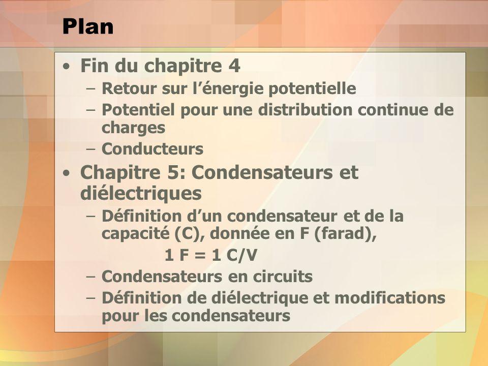 Plan Fin du chapitre 4 –Retour sur lénergie potentielle –Potentiel pour une distribution continue de charges –Conducteurs Chapitre 5: Condensateurs et diélectriques –Définition dun condensateur et de la capacité (C), donnée en F (farad), 1 F = 1 C/V –Condensateurs en circuits –Définition de diélectrique et modifications pour les condensateurs