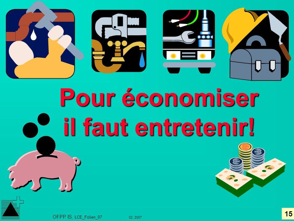 15 02. 2007 OFPP IS, LCE_Folien_07 Pour économiser il faut entretenir!