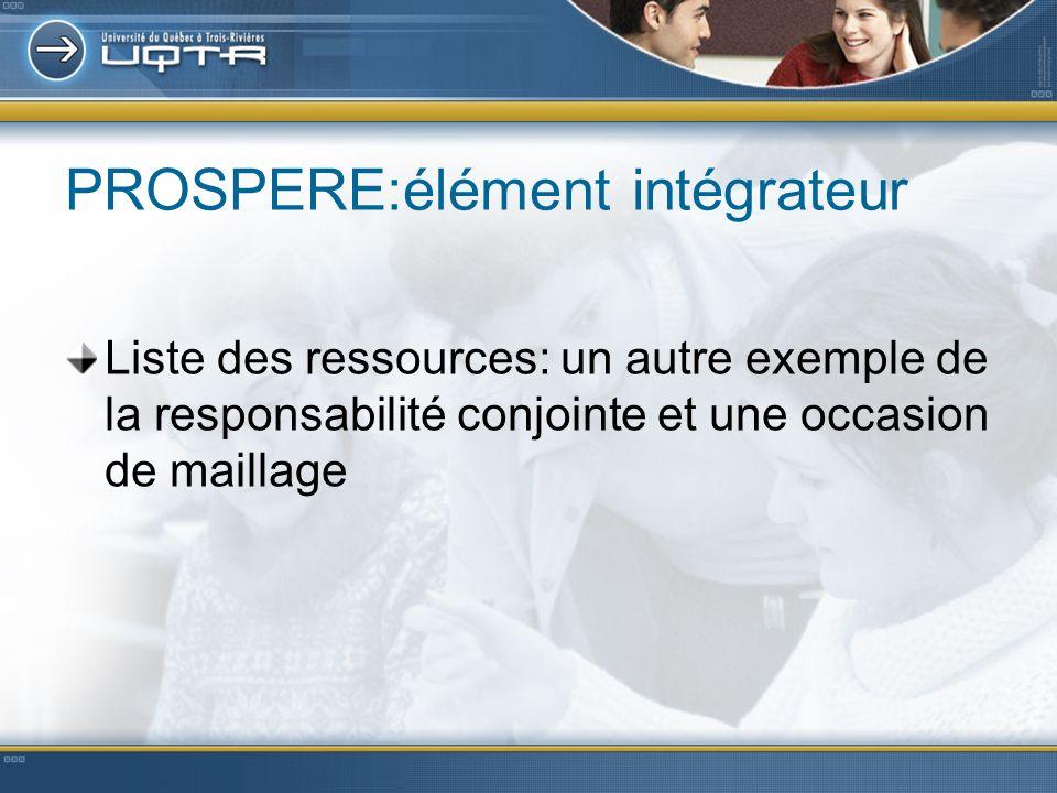PROSPERE:élément intégrateur Liste des ressources: un autre exemple de la responsabilité conjointe et une occasion de maillage