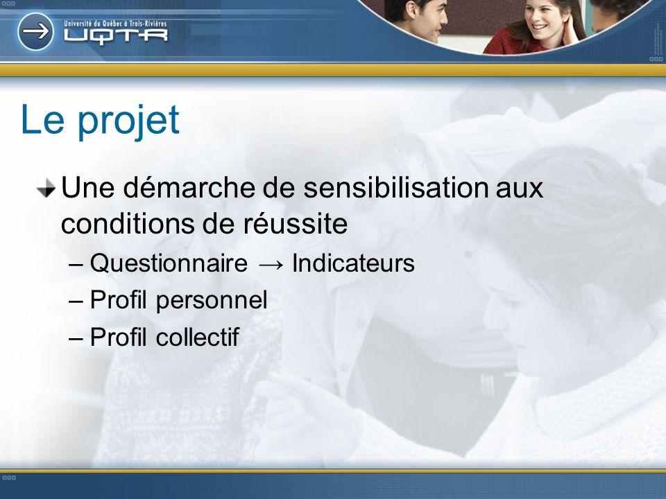 Le projet Une démarche de sensibilisation aux conditions de réussite –Questionnaire Indicateurs –Profil personnel –Profil collectif