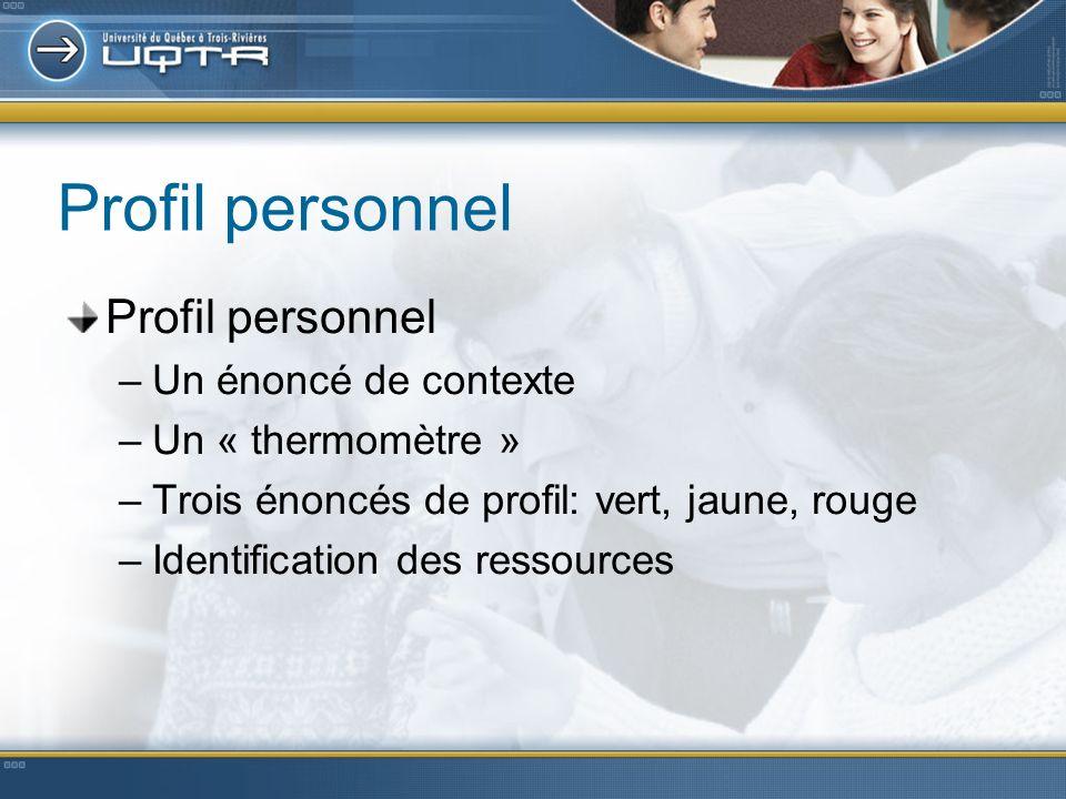 Profil personnel –Un énoncé de contexte –Un « thermomètre » –Trois énoncés de profil: vert, jaune, rouge –Identification des ressources