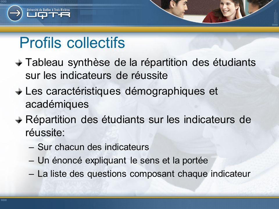 Profils collectifs Tableau synthèse de la répartition des étudiants sur les indicateurs de réussite Les caractéristiques démographiques et académiques