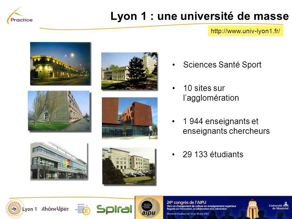 http://www.univ-lyon1.fr/ Lyon 1 : une université de masse Sciences Santé Sport 10 sites sur lagglomération 1 944 enseignants et enseignants chercheurs 29 133 étudiants