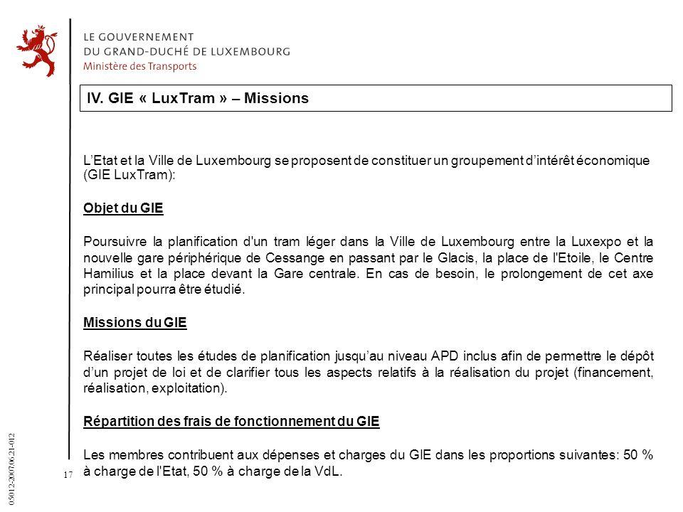 17 05012-2007.06.21-012 IV. GIE « LuxTram » – Missions LEtat et la Ville de Luxembourg se proposent de constituer un groupement dintérêt économique (G