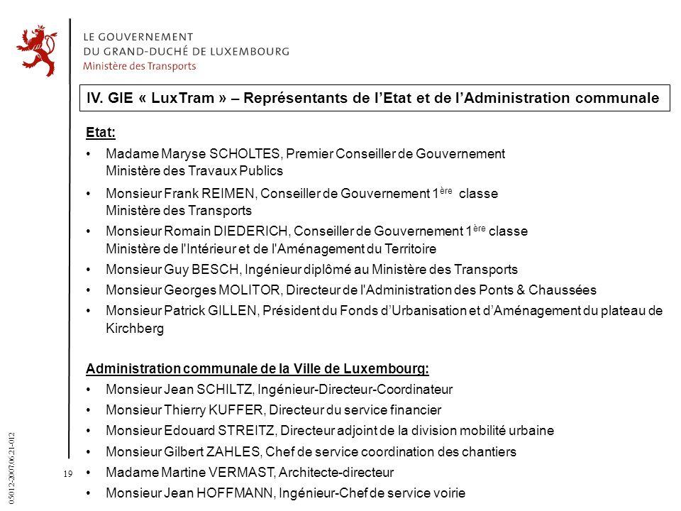 19 05012-2007.06.21-012 IV. GIE « LuxTram » – Représentants de lEtat et de lAdministration communale Etat: Madame Maryse SCHOLTES, Premier Conseiller