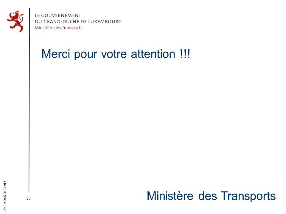 20 05012-2007.06.21-012 Ministère des Transports Merci pour votre attention !!!