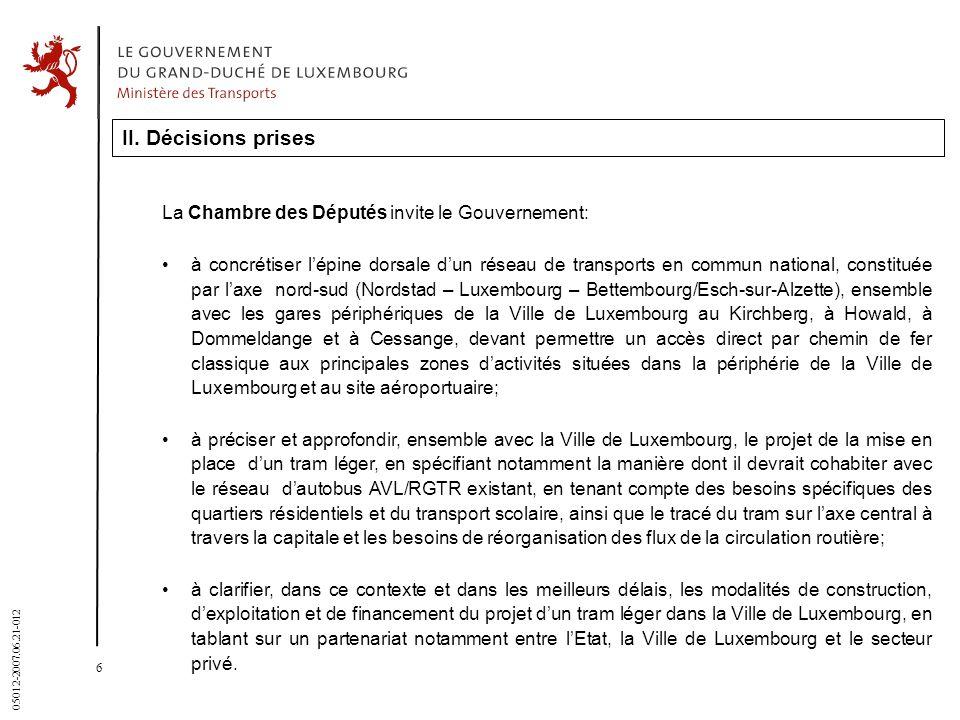 6 05012-2007.06.21-012 II. Décisions prises La Chambre des Députés invite le Gouvernement: à concrétiser lépine dorsale dun réseau de transports en co