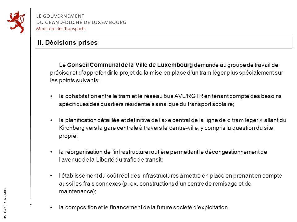 7 05012-2007.06.21-012 II. Décisions prises Le Conseil Communal de la Ville de Luxembourg demande au groupe de travail de préciser et dapprofondir le