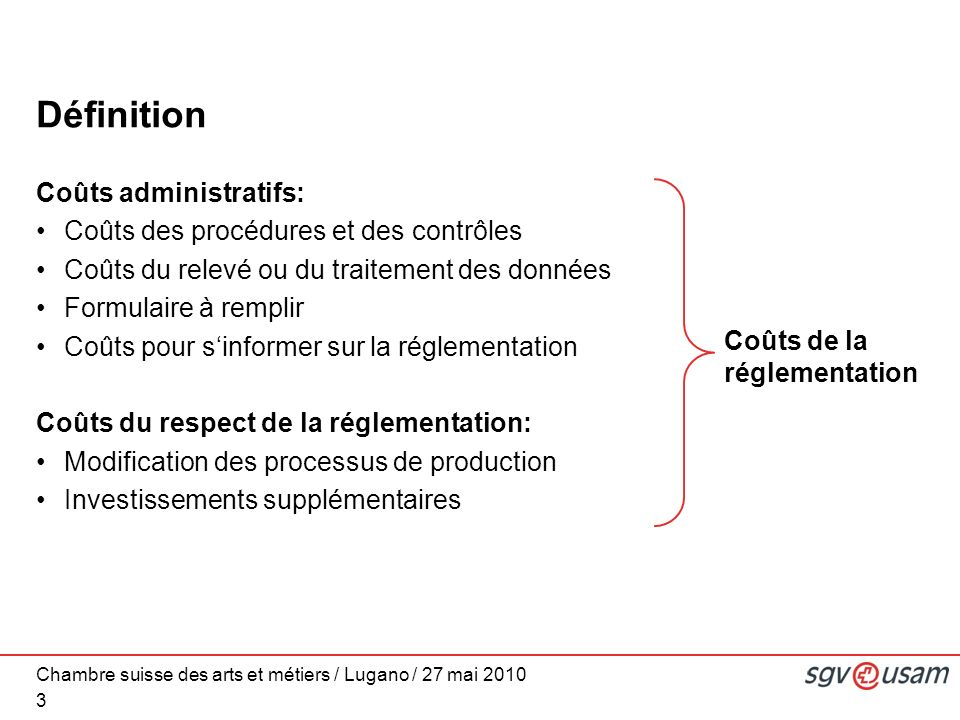Chambre suisse des arts et métiers / Lugano / 27 mai 2010 Définition Coûts administratifs: Coûts des procédures et des contrôles Coûts du relevé ou du