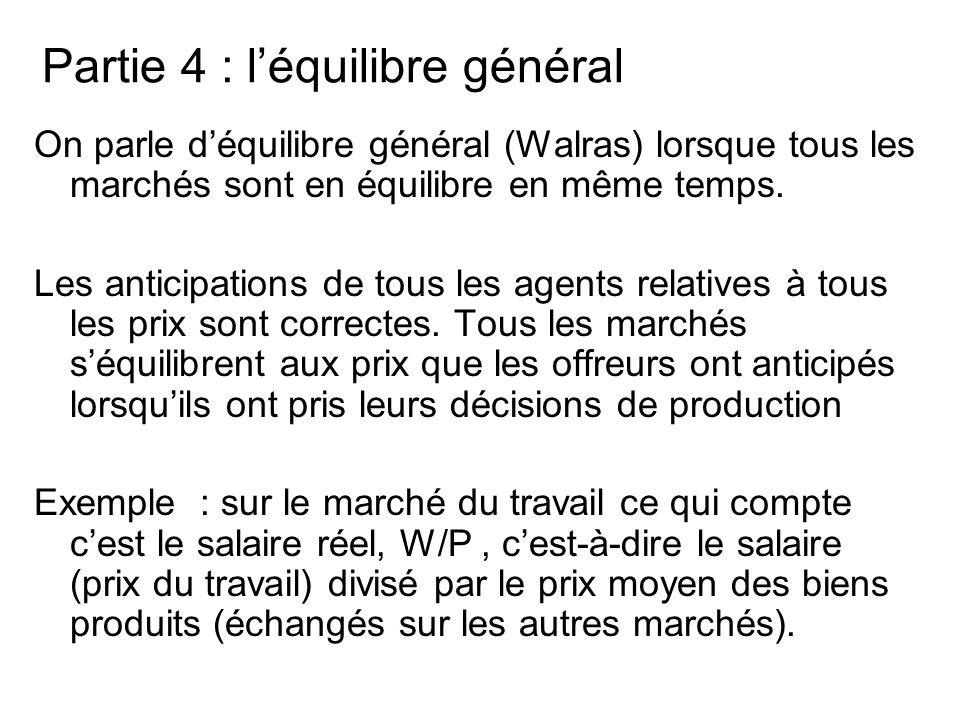 Partie 4 : léquilibre général On parle déquilibre général (Walras) lorsque tous les marchés sont en équilibre en même temps. Les anticipations de tous