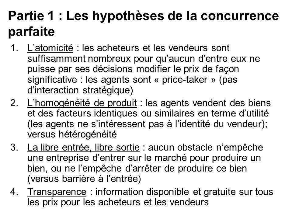 Partie 1 : Les hypothèses de la concurrence parfaite 1.Latomicité : les acheteurs et les vendeurs sont suffisamment nombreux pour quaucun dentre eux n