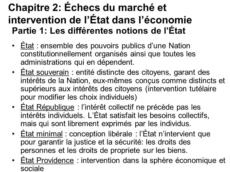 Partie 1: Les différentes notions de lÉtat État : ensemble des pouvoirs publics dune Nation constitutionnellement organisés ainsi que toutes les admin