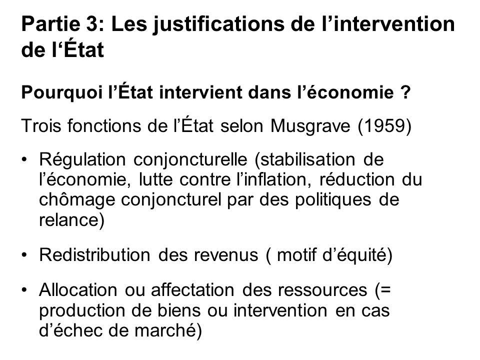 Pourquoi lÉtat intervient dans léconomie ? Trois fonctions de lÉtat selon Musgrave (1959) Régulation conjoncturelle (stabilisation de léconomie, lutte