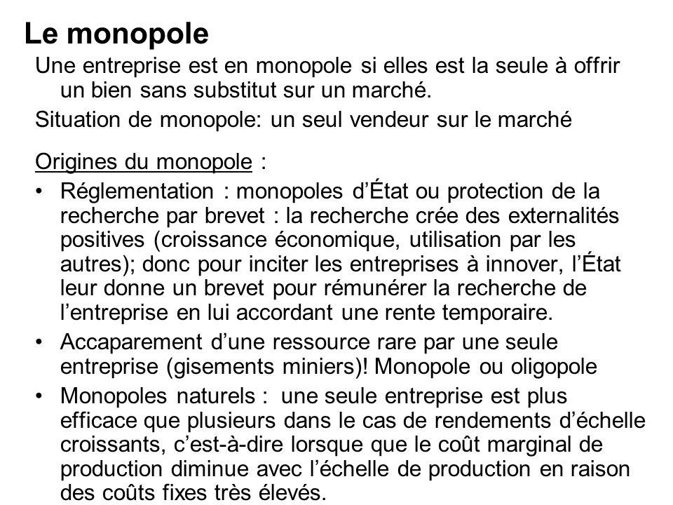 Une entreprise est en monopole si elles est la seule à offrir un bien sans substitut sur un marché. Situation de monopole: un seul vendeur sur le marc
