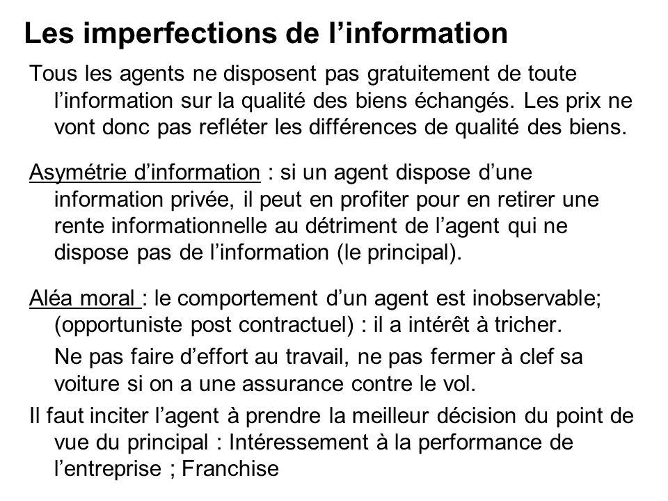 Tous les agents ne disposent pas gratuitement de toute linformation sur la qualité des biens échangés. Les prix ne vont donc pas refléter les différen