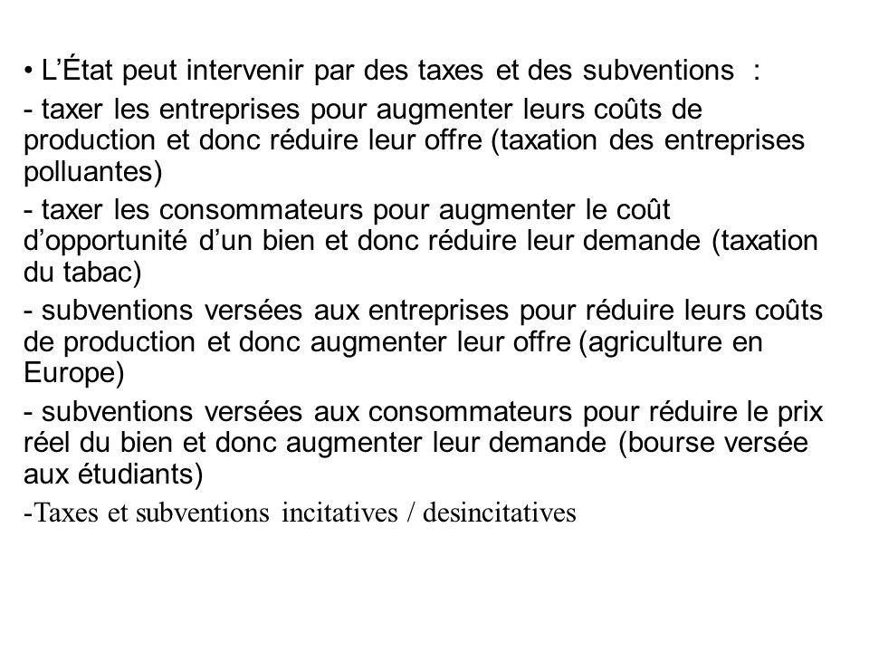 LÉtat peut intervenir par des taxes et des subventions : - taxer les entreprises pour augmenter leurs coûts de production et donc réduire leur offre (taxation des entreprises polluantes) - taxer les consommateurs pour augmenter le coût dopportunité dun bien et donc réduire leur demande (taxation du tabac) - subventions versées aux entreprises pour réduire leurs coûts de production et donc augmenter leur offre (agriculture en Europe) - subventions versées aux consommateurs pour réduire le prix réel du bien et donc augmenter leur demande (bourse versée aux étudiants) -Taxes et subventions incitatives / desincitatives