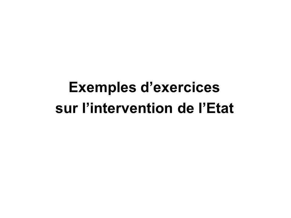Exemples dexercices sur lintervention de lEtat