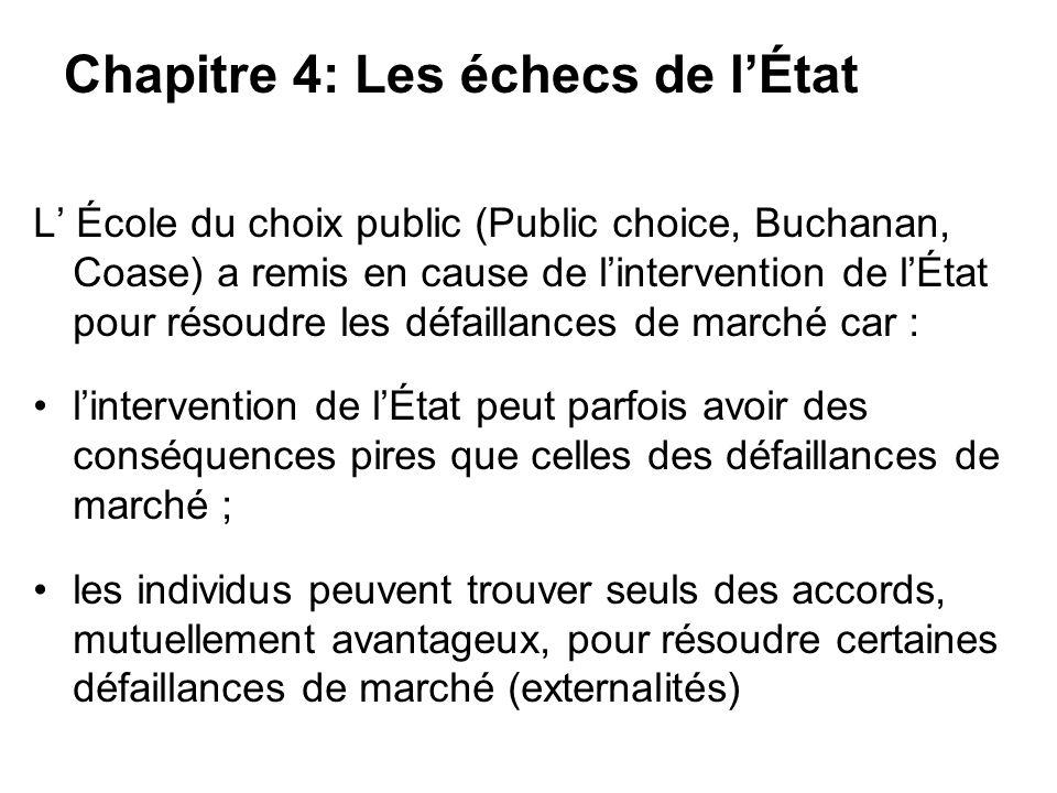 L École du choix public (Public choice, Buchanan, Coase) a remis en cause de lintervention de lÉtat pour résoudre les défaillances de marché car : lin