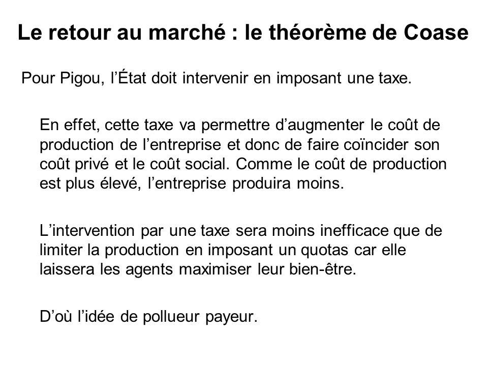 Pour Pigou, lÉtat doit intervenir en imposant une taxe. En effet, cette taxe va permettre daugmenter le coût de production de lentreprise et donc de f