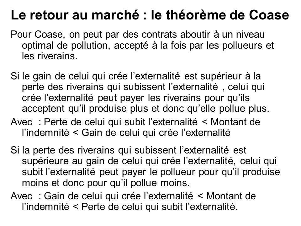 Pour Coase, on peut par des contrats aboutir à un niveau optimal de pollution, accepté à la fois par les pollueurs et les riverains. Si le gain de cel