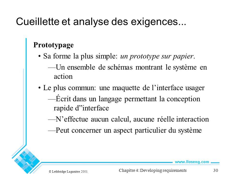 © Lethbridge/Laganière 2001 Chapitre 4: Developing requirements30 Cueillette et analyse des exigences...