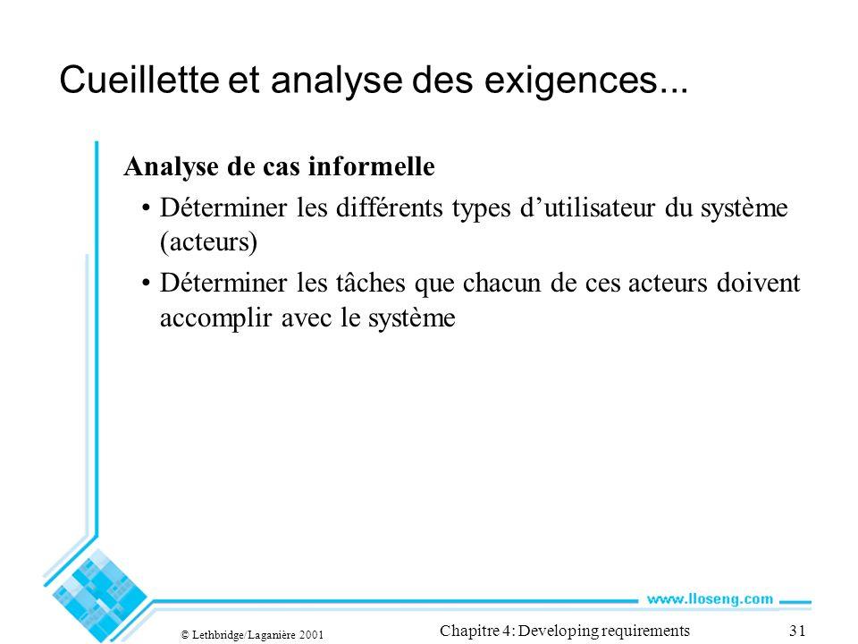 © Lethbridge/Laganière 2001 Chapitre 4: Developing requirements31 Cueillette et analyse des exigences...