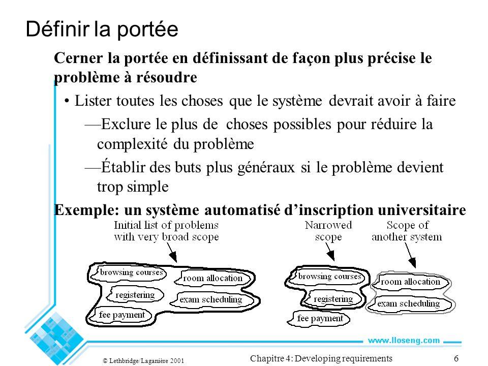 © Lethbridge/Laganière 2001 Chapitre 4: Developing requirements7 4.4 Quest-ce quune exigence.