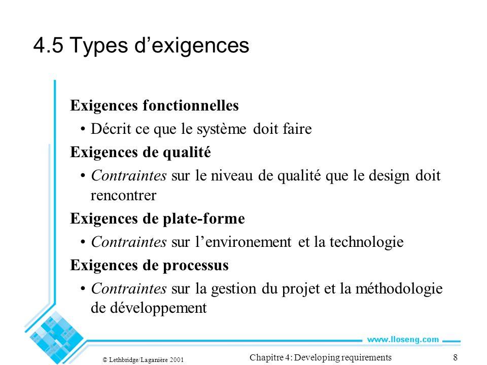 © Lethbridge/Laganière 2001 Chapitre 4: Developing requirements19 Exemple de généralisation, dextension et dinclusion