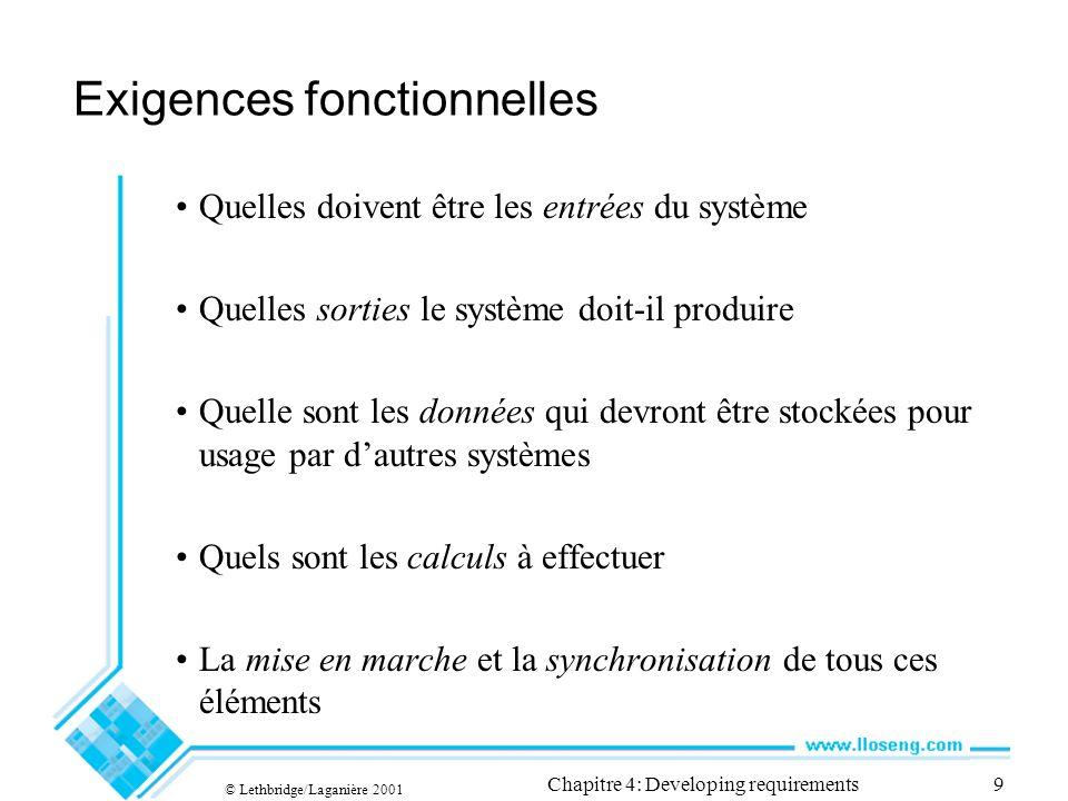 © Lethbridge/Laganière 2001 Chapitre 4: Developing requirements20 Exemple de description dun cas-type