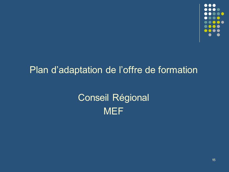 15 Plan dadaptation de loffre de formation Conseil Régional MEF