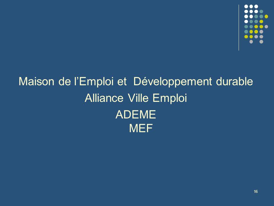 16 Maison de lEmploi et Développement durable Alliance Ville Emploi ADEME MEF