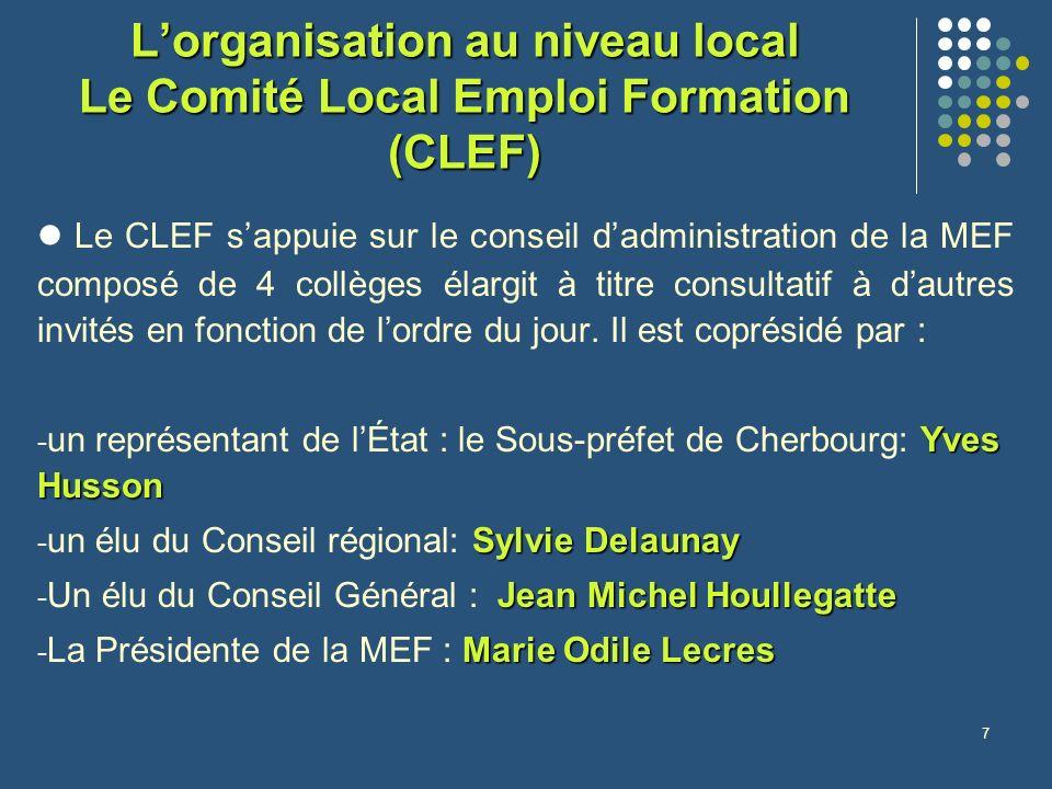 7 Lorganisation au niveau local Le Comité Local Emploi Formation (CLEF) Le CLEF sappuie sur le conseil dadministration de la MEF composé de 4 collèges élargit à titre consultatif à dautres invités en fonction de lordre du jour.