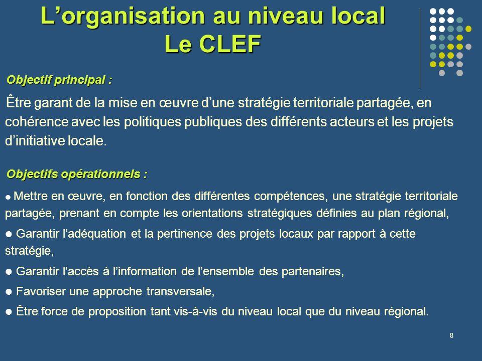 8 Lorganisation au niveau local Le CLEF Objectif principal : Être garant de la mise en œuvre dune stratégie territoriale partagée, en cohérence avec les politiques publiques des différents acteurs et les projets dinitiative locale.